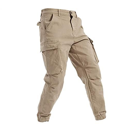 WXZZ Pantalones cargo de algodón con corte de zanahoria para hombre, con 6 bolsillos, de corte regular largo, de algodón, para tiempo libre, senderismo, trekking, para hombre, caqui, 36