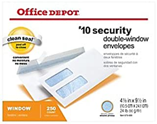 Office Depot Double-Window Envelopes, 10 (4 1/8in. x 9 1/2in.), White, Clean Seal(TM), Box of 250, 77139