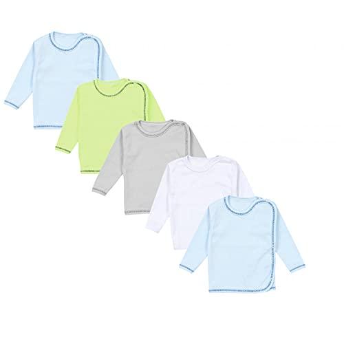 TupTam Unisex Baby Wickelshirt Langarm 5er Pack, Farbe: Junge, Größe: 56