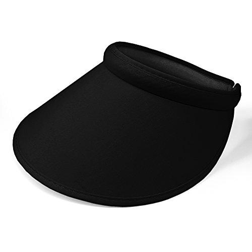 PRO.FASHION Women's Summer Sun UV Protection Visor Wide Brim Clip on Adjustable Stylish Beach Pool Golf Cap Hat (Black)