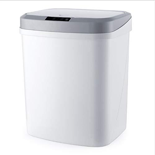 Smart Trash Can Woonkamer Slaapkamer Startpagina Inductie Vibration Kloppen Open Vuilnisbak,White