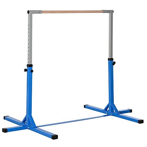 HOMCOM Gymnastik Turnreck Reckstange 13-stufige höhenverstellbar bis 75 kg belastbar Reckanlage Trainingsgeräte Stahl Buchenholz Blau