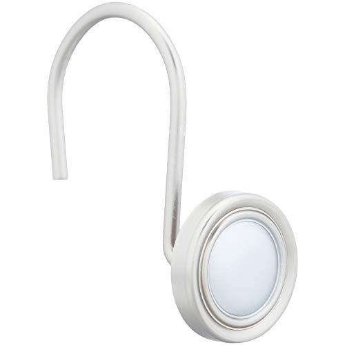 AmazonBasics - Ganchos para cortinas de ducha, ganchos de botón clásico, níquel