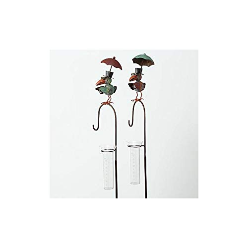L'Héritier Du Temps regenmeter voor het steken van planten, tuindecoratie, motief Rabe van ijzer gepatineerd en glazen buis 11 x 20 x 135 cm - Groen