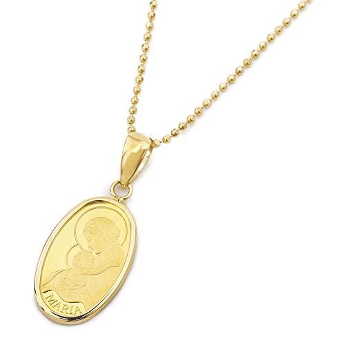 純金 24k コイン ペンダント オーバル マリア お守り 贈り物 資産価値