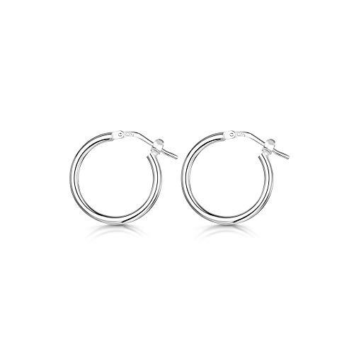 Amberta 925 Sterling Silver Fine Circle Hinged Hoops - Round Creole Sleeper Earrings Diameter Size: 7 10 15 20 25 35 45 55 mm (15mm)