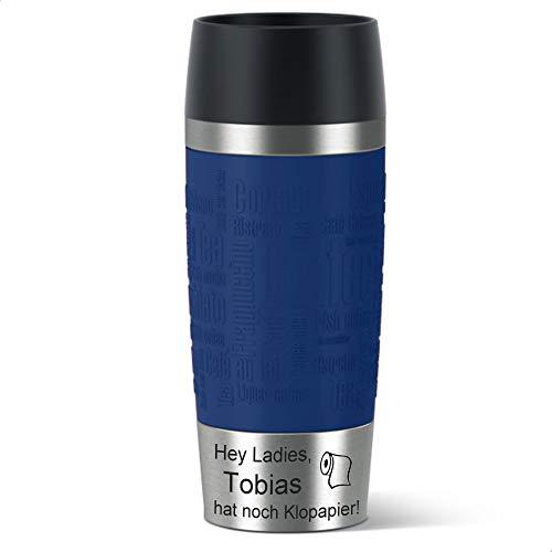 Sterngraf Isolierbecher MIT Gravur (z.B. Spruch Hey Ladies - Klopapier + Name) TRAVEL Mug von EMSA Manschette blau 360ml