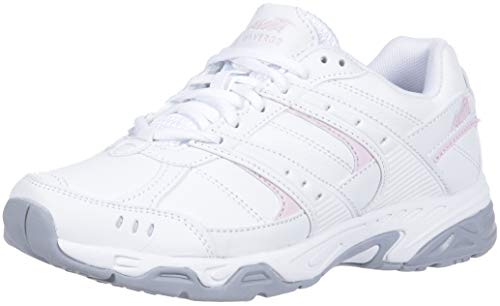 AVIA Women's Avi-Verge Sneaker, Bright White Pink/Silver/Steel Grey, 9 Medium US