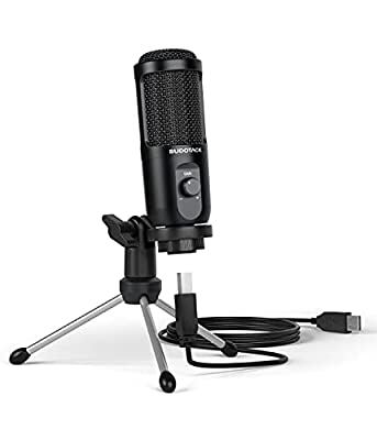 USB Computer Microphone, SUDOTACK PC Condenser Mic With Mic Gain for Gaming, Streaming, Recording, Podcast, Voice Overs, Zoom, Youtube, Compatible with Laptop Desktop Windows macOS (ST-600)