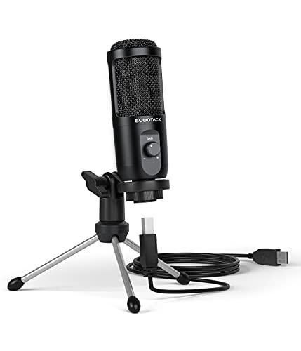 USB PC Mikrofon, SUDOTACK Studio Kondensator Mikrofone mit Stativ, Nierencharakteristik Streaming Aufnahme Microphone für Podcast, Skype, Streaming, YouTube, Zoom, Gaming ST-600
