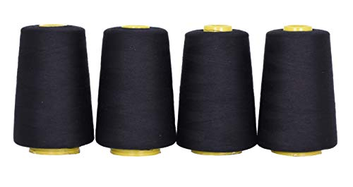 Mandala Crafts All Purpose Sewing Thread from Polyester for Serger Overlock Quilting Sewing Machine Pack of 4 40S/2 Black
