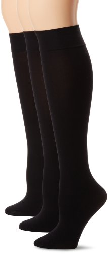 HUE Women's Soft Opaque Knee High Socks (Pack of 3),Black,2