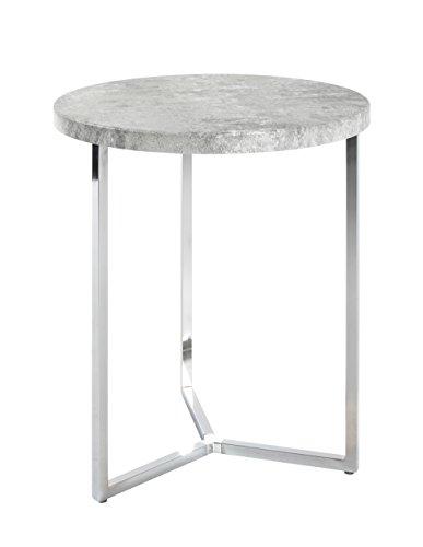 HAKU Möbel bijzettafel, stalen buis modern Ø: 45 x 54 Chroom/betonlook.