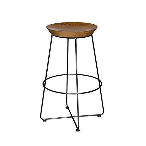 Qi Tai/Breakfast barkruk- IJzeren barkruk, moderne barstoel, massief houten kussen en smeedijzeren steigers, geschikt voor counter, keuken ontbijtbar, zithoogte 65cm / 75cm Salon kruk Large