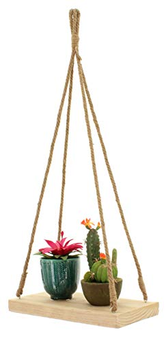 MIK Funshopping Houten wandrek met touwen opknoping rek zwevende plank voor bloempotten fotolijsten boeken 35x19x3 plafondkrans