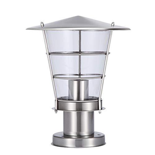 FENGLIAN Stainless Steel Silver Outdoor Waterproof E27 Acrylic Post Lights Modern Simple European Column Lamps Garden Door Street Park Home Villa Lighting Pillar Lights (Size : 30 * 30cm)