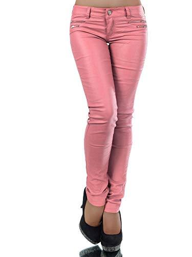 Damen Jeans Hose Hüfthose Damenjeans Hüftjeans Röhrenjeans Leder-Optik L521, Farbe: Pfirsich, Größe: 38 (M)