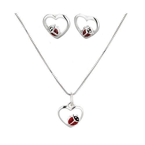 FIVE-D Set Anhänger Kinderohrringe mit Kette Marienkäfer im Herz 925 Silber Mädchen Halskette (Stecker)