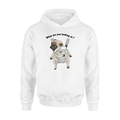 Pug Funny Shirts What Are You Looking at Xmas Gift - Felpa standard con cappuccio bianco XXL