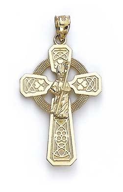 Collar con colgante de cruz de la fe religiosa de Claddagh irlandesa de 14 quilates con diseño de nudo de la Trinidad celta para las mujeres