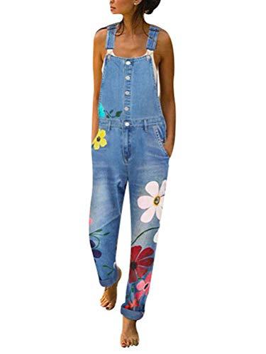 Tomwell Damen Denim Jeans Latzhose Langer Overall Blumen Jeansoptik Klasse Vintage Jeans Lang Lässig Baggy Boyfriend Stylisch Jumpsuit Hüftjeans B Hellblau XL
