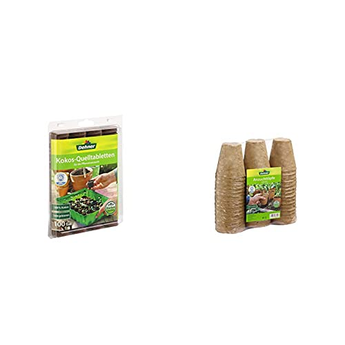 Dehner Kokos-Quelltabletten, mit Nährstoff-Mix, zur Anzucht von Stecklingen, Sämlingen und Saaten, Ø 38 mm, 100 Stück & Anzuchttöpfe für Pflanzen, Ø je 8 cm, Höhe 9 cm, 48 Stück, Zellulose