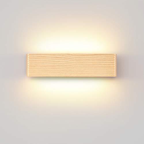 LED Wandleuchte,Moderne Wandlampe Holz Flurlampe Nachtlampe, Schlafzimmer Treppenhaus Flur Wandbeleuchtung Innenbeleuchtung (32CM)