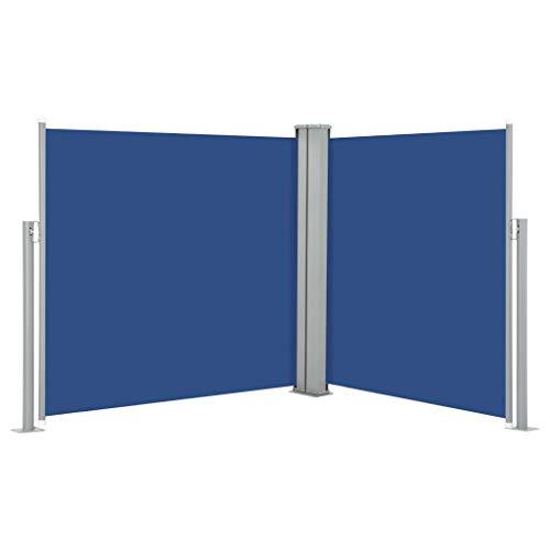 vidaXL Toldo Lateral Retráctil para Patio Pantalla de Terraza Mampara Parasol de Exterior Jardín Tela de Lona PU Azul Soporte de Hierro 100x600 cm