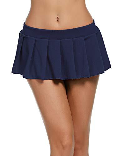 Faltenrock Damen Kurz Rock Sexy Dessous Mini Skirt Minirock Strapse Einfarbig Reizwäsche Reizvolle Babydoll Cosplay Röcke Dunkelblau_XXL