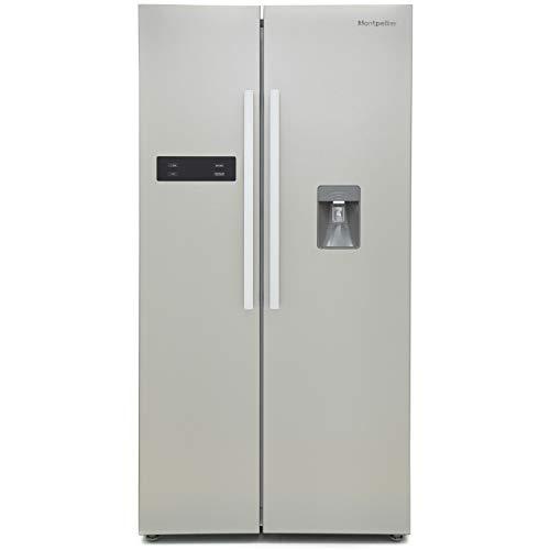 Montpellier 510 Litre American Style Fridge Freezer Frost Free Water Dispenser 2 Door 89.5cm Wide - Silver