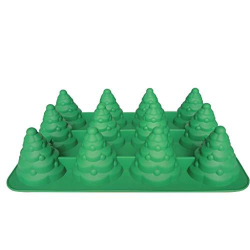 Sitonelectic Moule en silicone en forme de sapin de Noël 3D pour mousse, gâteau, muffin, glaçons, gelée, chocolat, savon, barre de lotion, bombe de bain, bougie (vert et rouge)