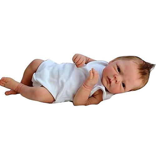 Yeah-hhi Muñecas Reborn Hecha A Mano 46Cm 18 Pulgadas Recién Nacido Muñeca De Silicona Mixta Mirada Real Lifelike Reborn Baby Muñecas para El Regalo del Niño, Juguete,Girl
