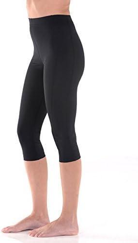 Women Swim Capri Tights High Waist UV Protection Swimwear UPF50+ Black