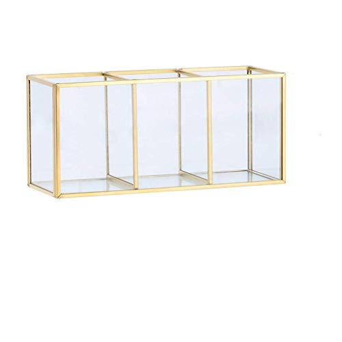 LNLJ Retro Glass Storage Object Box Kosmetische Desktop Storage Storage Schmuck, Metall Glas Organizer Organizer Von, Geeignet Für Frisierkommode, Badezimmer, Schlafzimmer,S
