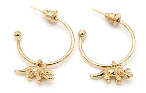 Musthaves Damen Ohrringe Dino - Ø Ring 20 mm - Anhänger 12 mm (Gold)