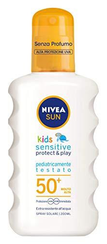 Nivea Sun Kids Spray Solare Sensitive Protect & Play FP50+ per Bambini, Protezione Molto Alta, 200 ml