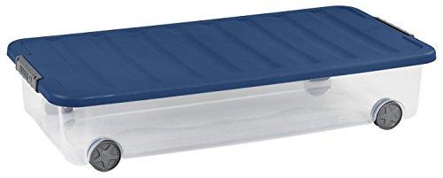 Allibert 225553 Boîte de Rangement Dessous de Lit avec Couvercle, Plastique, Transparent/Bleu, 77.5 x 37.5 x 14.5 cm