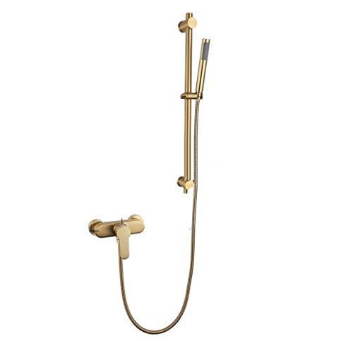 YEZIN Cabeza de Ducha De Mano de Acero Inoxidable Set de Ducha Ajustable con Barra Deslizante en el Cepillado de Oro para Piel Seca y Cabello.