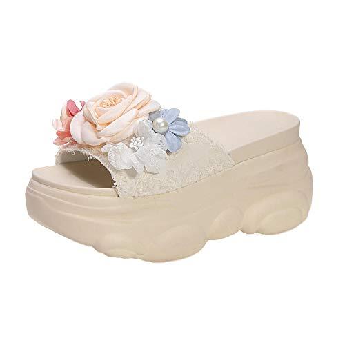 WUHUI Chanclas de Playa y Piscina Hombre, Pantuflas tacón Pendiente Antideslizante, Zapatos de Playa Verano-Beige_35, Zapatillas de Moda Antideslizante para el baño