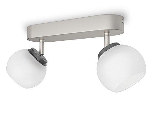 Philips myLiving LED Spot Balla 2-flammig Metall 4 W Edelstahl gebürstet/Weiß 533221716