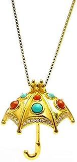 Yigedan Natural Turquoise Baroque Palace Wind 14k Gold Umbrella Pendant Necklace
