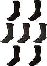 Van Heusen Men's Dress Socks - Lightweight Mid-Calf Crew Dress Socks (7 Pack), Size Shoe Size: 6-12.5, Heather Grey/Black