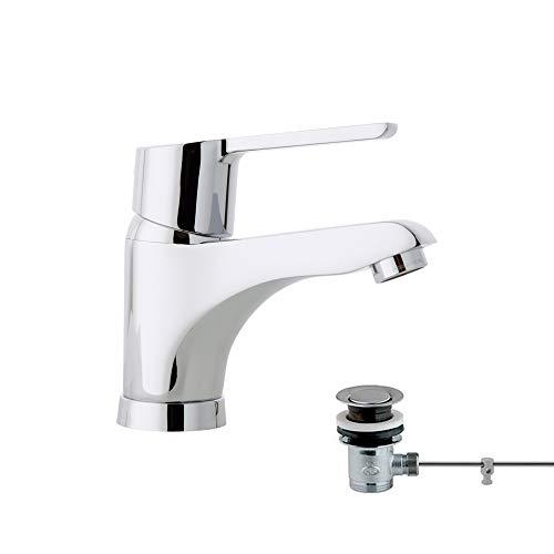 Ramon Soler 46A305037 Atalanta – Monomando de lavabo con válvula automática metálica, sistema S2 de ahorro de agua del 50%, limitador de temperatura y cromado Diamond Finish, cromo