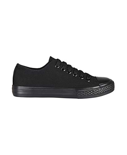 3690-BLK-6: Plain Basic Low Top Trainers (Schwarz, Gr.39)