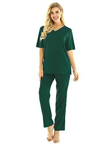 Alvivi Unisex Damen Herren Arzt Uniformen Set Kurzarm V-Neck Tops mit OP Hose Arzt Chirurg Kostüm Kasack Pflege Berufskleidung Armeegrün S