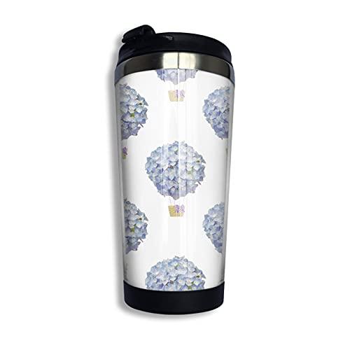 LYYNBLA Hydrangea - Taza de café de acero inoxidable aislada para coche, con tapa, 400 ml