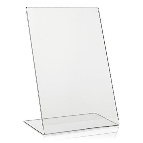VITAdisplays® DIN A4 L-Aufsteller / L-Ständer, schräg, Acryl-Glas, Transparent (NE-380L)
