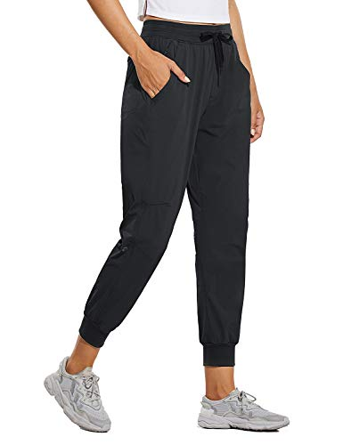 BALEAF Women's Quick Dry Hiking Pants Lightweight Drawstring Joggers Zipped Pockets Running Workout Pants Black XS