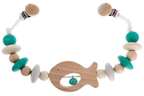 Hess Holzspielzeug 12967 - Wagenkette Fisch, Kette für Kinderwagen oder Babyschale, ab 0 Monaten, nature türkis, ca. 49 x 7 x 3,5 cm
