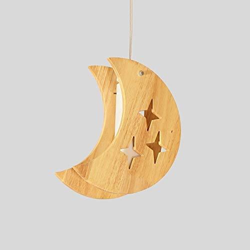 Lyuez eenvoudige restaurant licht creatieve kinderkamer ster maan kroonluchter LED massief hout decoratieve kroonluchter creatief leuke gesneden massief houten lamp
